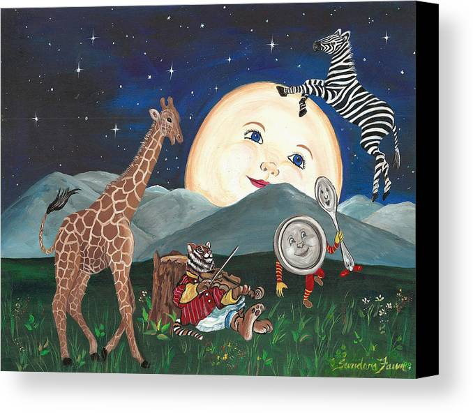 Zebra Canvas Print featuring the painting Hey Diddle Diddle by Sundara Fawn