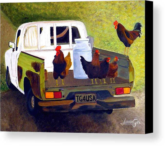 Truck Canvas Print featuring the painting Hitchin' A Ride To Town by JoeRay Kelley