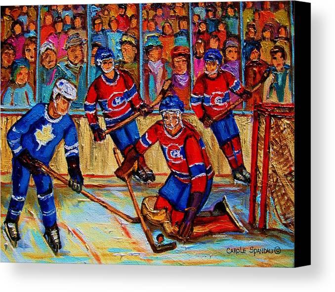 Hockey Canvas Print featuring the painting Hockey Hero by Carole Spandau