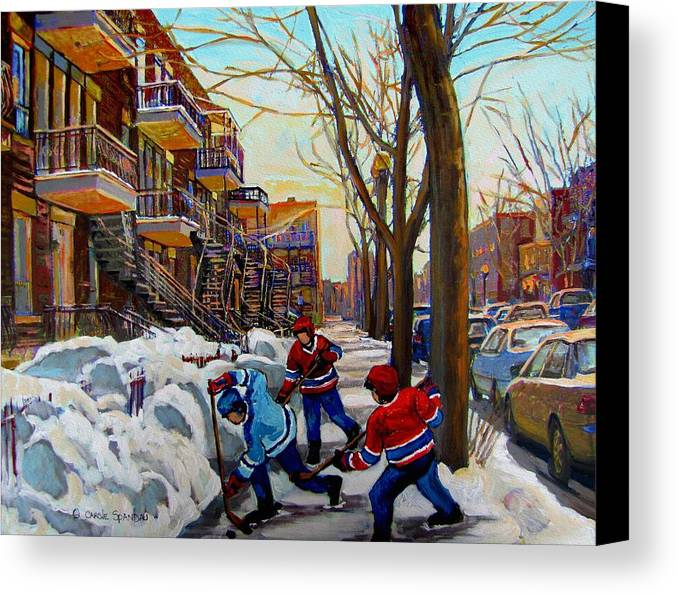 Hockey Canvas Prints Canvas Print featuring the painting Hockey On De Bullion by Carole Spandau