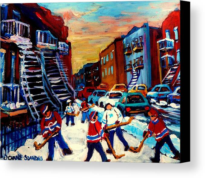 Montreal Canvas Print featuring the painting Hockey Paintings Of Montreal St Urbain Street City Scenes by Carole Spandau