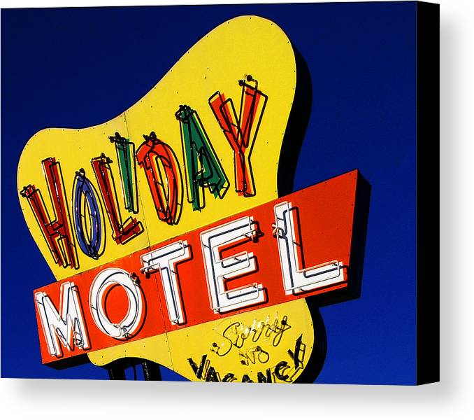 Color Canvas Print featuring the photograph Holiday Motel by Curtis Staiger