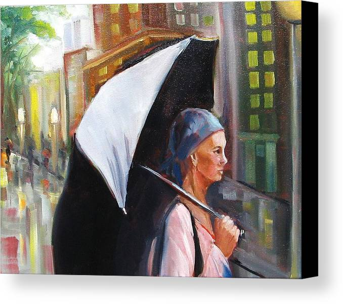 Woman With Umbrella Canvas Print featuring the painting Hope Reigns by Yvonne Dagger