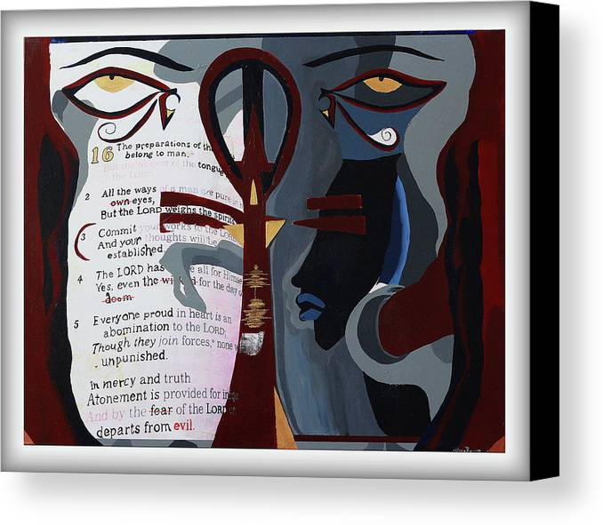 Bible Canvas Print featuring the painting I Belive You, But I Don't by ElReco Ramon