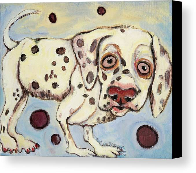 Dog Portrait On Canvas Canvas Print featuring the painting I See Spots by Michelle Spiziri