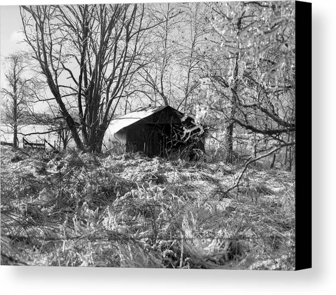 Winter Canvas Print featuring the photograph Icy-barn by Curtis J Neeley Jr