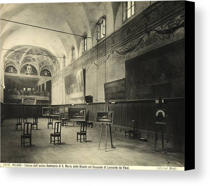 Wall; Fresco; Ecclesistical Interior; Vaulted Ceiling; Da Vinci; Refectory; Convent Canvas Print featuring the painting Interior Of The Dining Hall Of The Church Of Santa Maria Delle Grazie Milan by Alinari