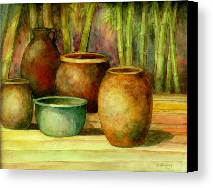 Jars Canvas Print featuring the painting Jars Basking by Jun Jamosmos