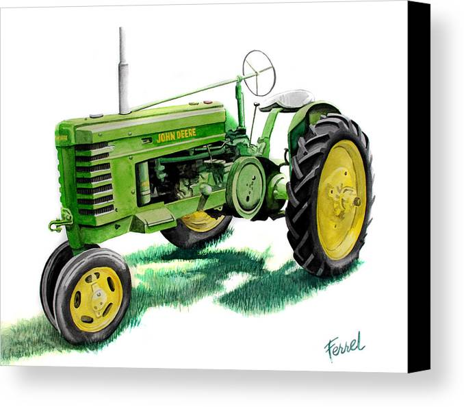 John Deere Tractor Canvas Print featuring the painting John Deere Tractor by Ferrel Cordle