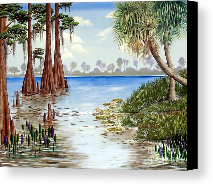 Nature Canvas Print featuring the painting Kissimee River Shore by Monica Turner
