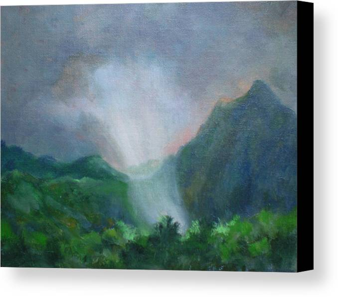 Landscape Canvas Print featuring the painting Kualoa Ranch Light Show by Bryan Alexander
