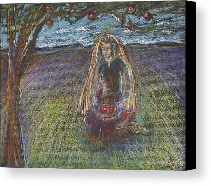 Symbolic Drawing; Pastel; Mystical; Jewish Art; Kabbalah; Beautiful Woman; Apple Tree;folk Art Canvas Print featuring the painting Lady Under A Tree by Laurie Parker