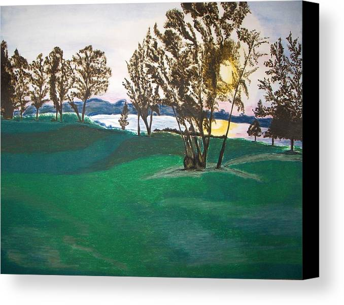 Lake Canvas Print featuring the painting Lake Sullivan by Sanchia Fernandes