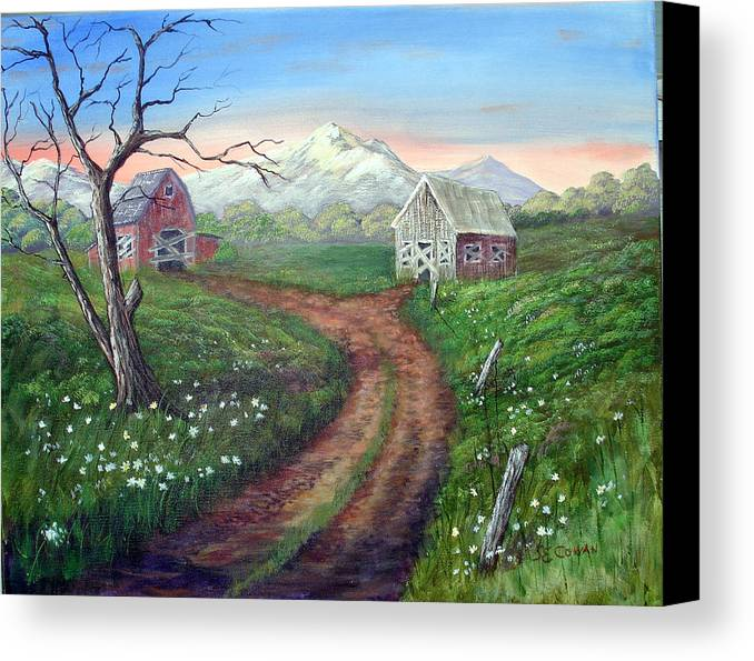 Landscape Canvas Print featuring the painting Left Behind - The Old Homestead by SueEllen Cowan