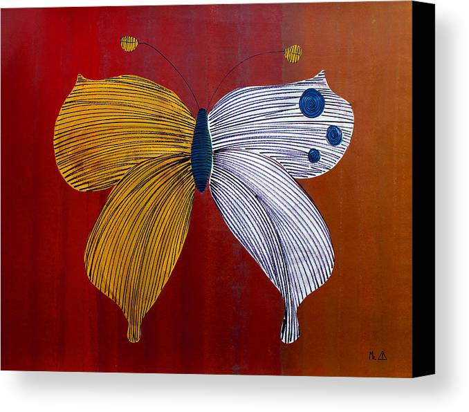 Butterfly Canvas Print featuring the painting Lib - 157 by Artist Singh