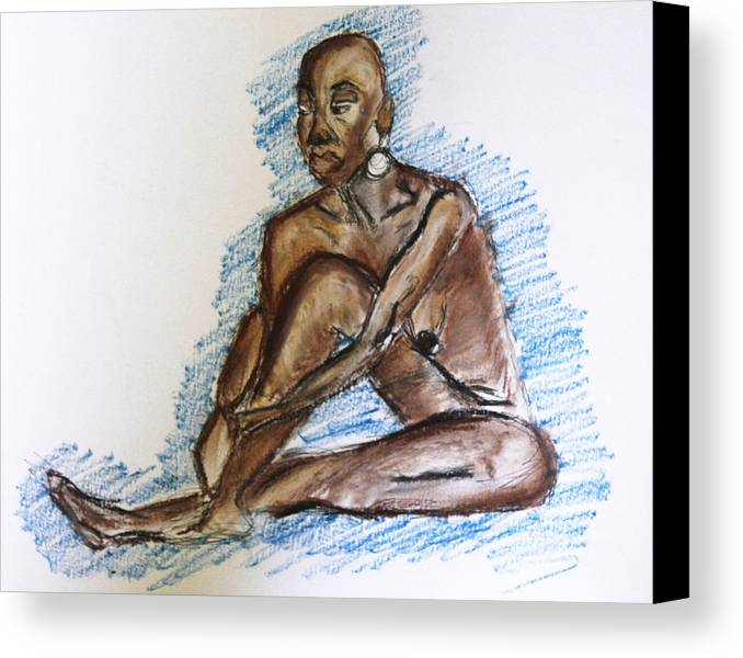 Nude Canvas Print featuring the pastel Life Drawing Study by Te'Ann's Palette