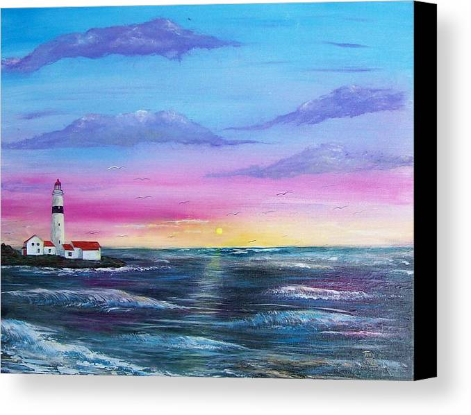 Seascape Canvas Print featuring the painting Lighthouse 5 by Tony Rodriguez