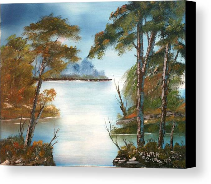 Oil Canvas Print featuring the painting Lonely Bay by Larry Hamilton