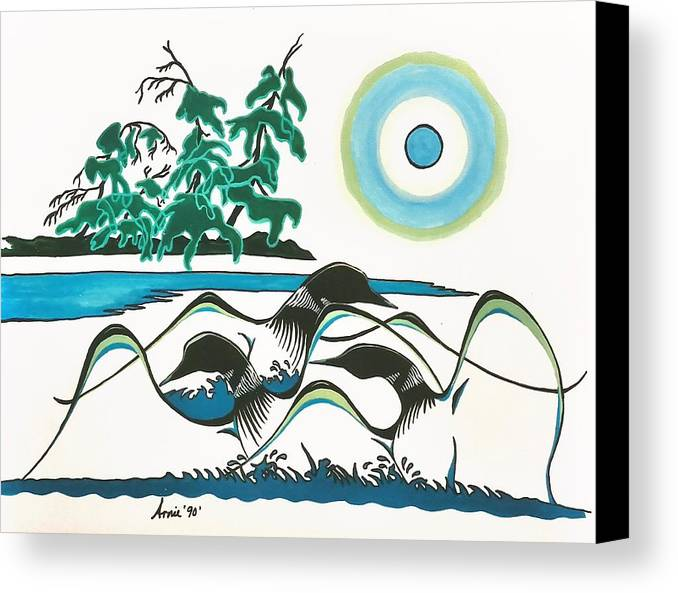Loons Canvas Print featuring the painting Loons At Play by Arnold Isbister