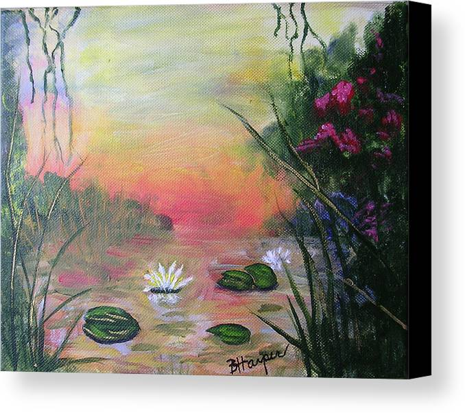 Lotus Canvas Print featuring the painting Lotus Pond Fantasy by Barbara Harper