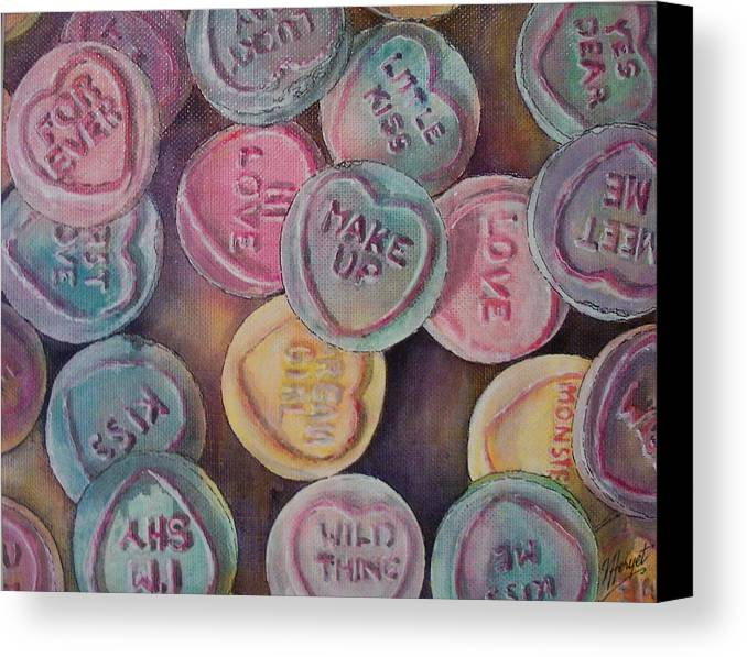 Candy Canvas Print featuring the painting Love Hearts by Victoria Heryet