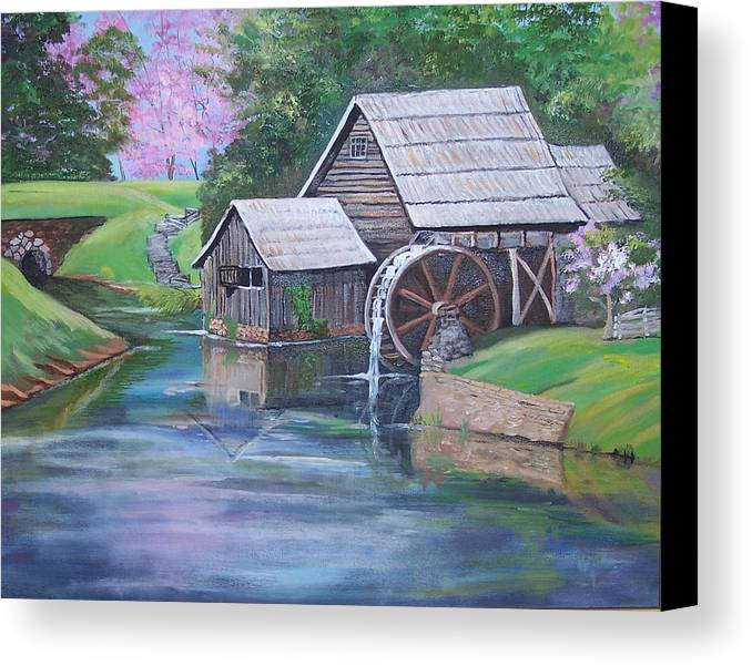Landscape Canvas Print featuring the painting Mabry Mill by Audrie Sumner