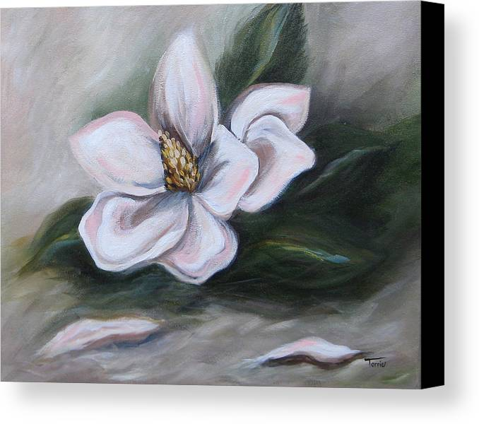 Flower Canvas Print featuring the painting Magnolia Two - 2007 by Torrie Smiley