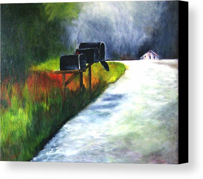 Landscape Canvas Print featuring the painting Mail Call by Julie Lamons