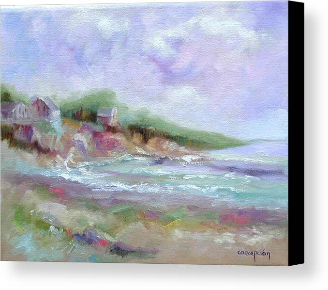 Maine Coastline Canvas Print featuring the painting Maine Coastline by Ginger Concepcion