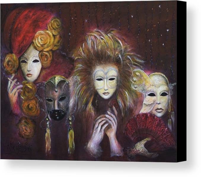 Masks Canvas Print featuring the painting Making Faces Vi by Nik Helbig