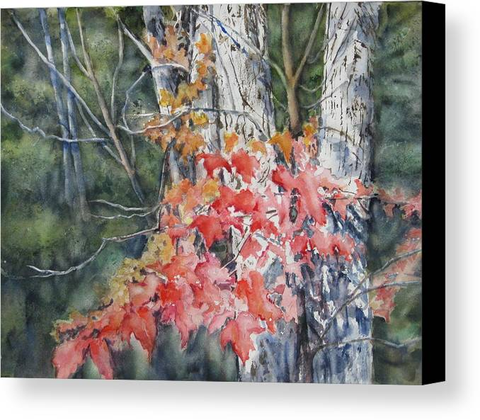 Fall Leaves Canvas Print featuring the painting Maple And Birch -new England Fall by June Conte Pryor