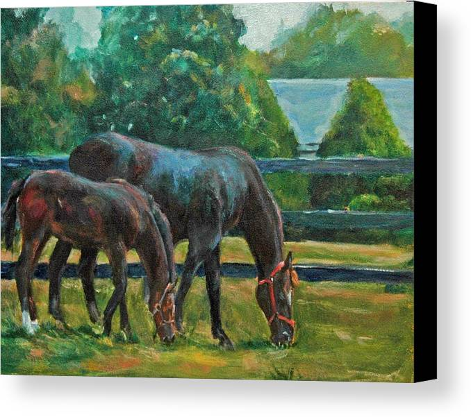 Equine Art Canvas Print featuring the painting Mare And Foal by Stephanie Allison