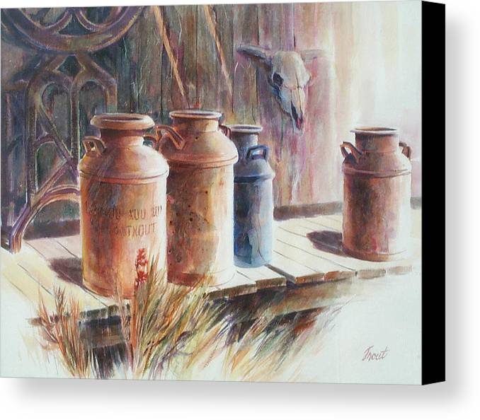 Old Milk Cans Canvas Print featuring the painting Milk Run by Don Trout