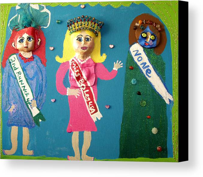 Canvas Print featuring the mixed media Miss Bo Leg Usa by Betty Roberts