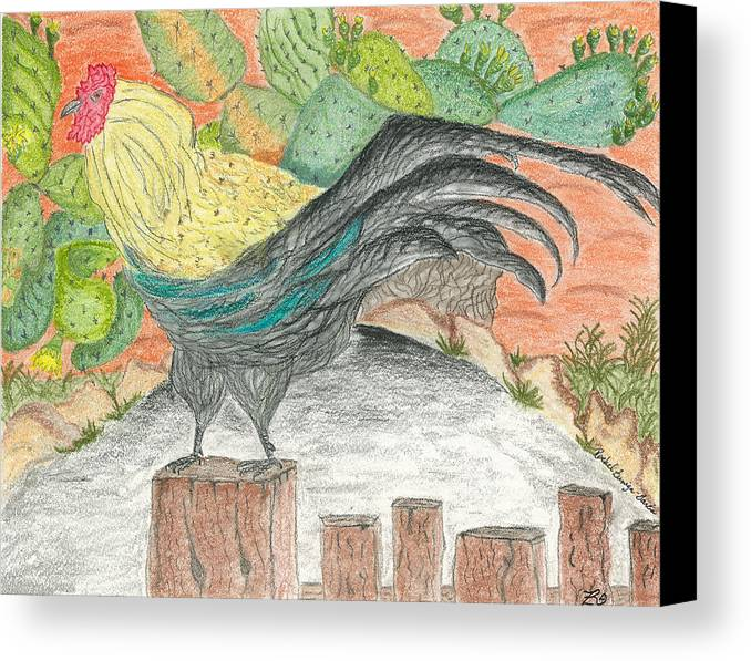 Cactus Canvas Print featuring the pastel Mission San Juan Bautista Garden by Rachel Zuniga