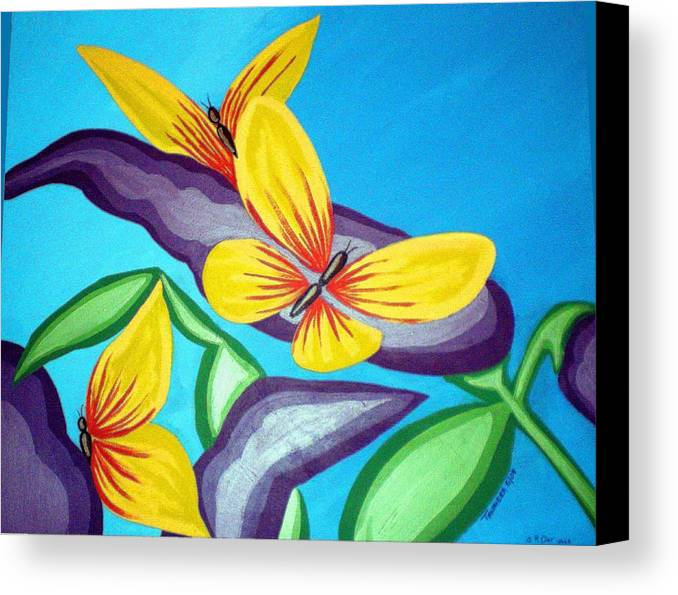 Butterflies Canvas Print featuring the painting Mom And Me And Butterflies Too by Tammera Malicki-Wong