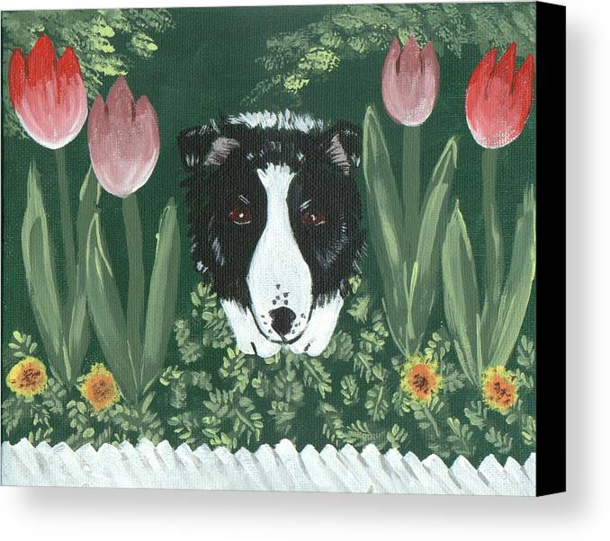 Border Collie Canvas Print featuring the painting Moms Flowers by Sue Ann Thornton