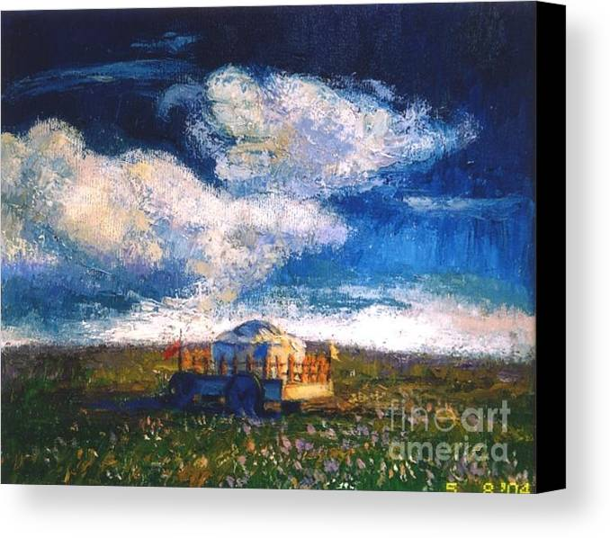 Momgolian Canvas Print featuring the painting Mongolian Home by Meihua Lu
