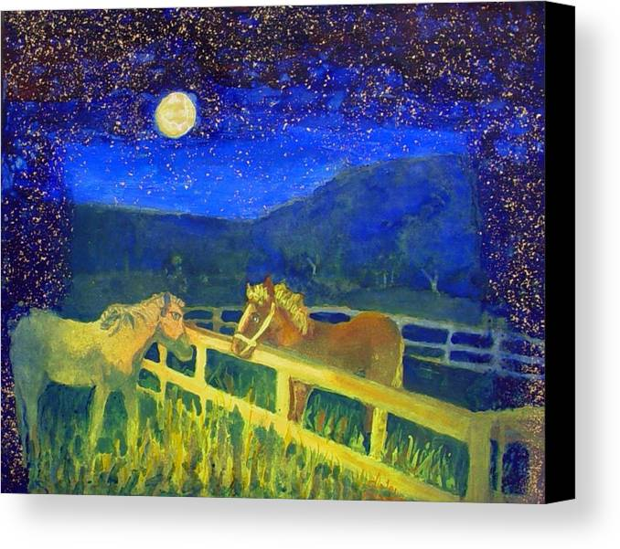 Horses Canvas Print featuring the painting Moon Struck by Helen Musser