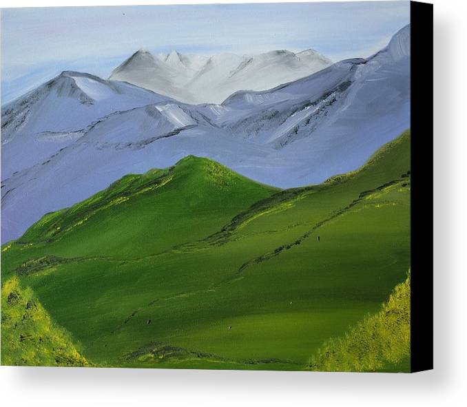 Landscape Canvas Print featuring the painting More Mountains by Liz Vernand