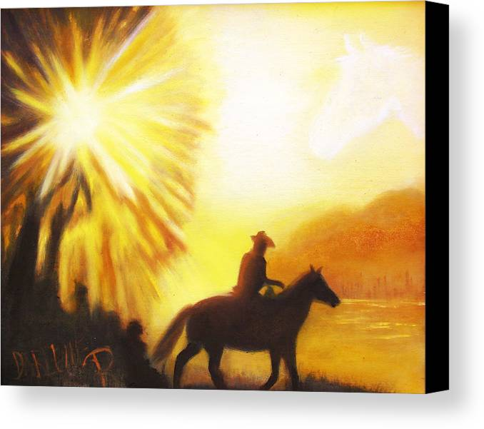 Sunrise Canvas Print featuring the painting Morning Ride by Darlene Green