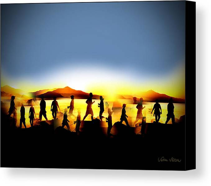 Jogging Canvas Print featuring the digital art Morning Routine by Sabine Stetson