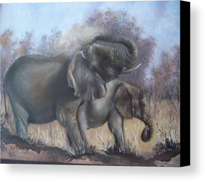 Elephants Canvas Print featuring the painting Mother And Child by Nellie Visser