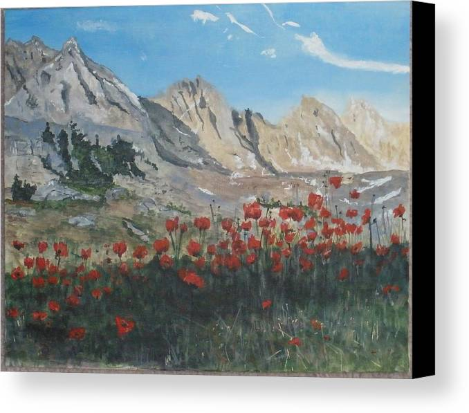 Landscape Canvas Print featuring the painting Mountains And Poppies by Betty-Anne McDonald