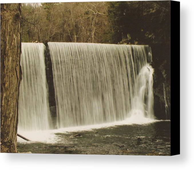 Canvas Print featuring the photograph moving Waterfall by John Power