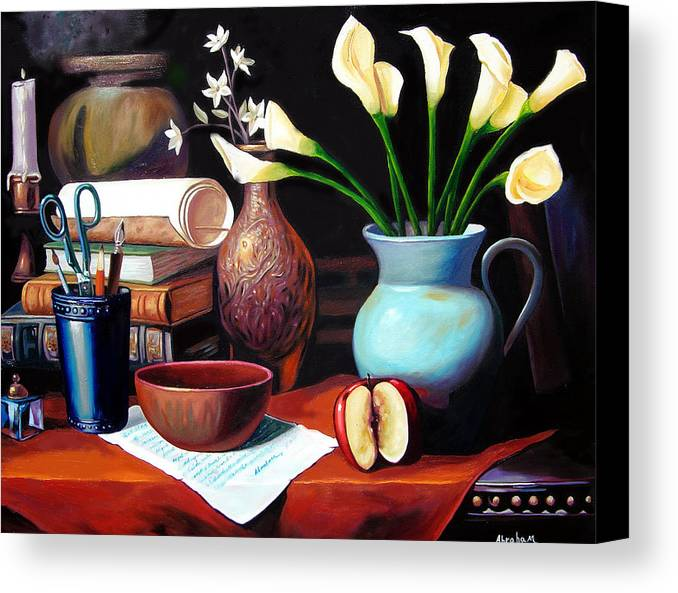 Canvas Print featuring the painting My Letter by Jose Manuel Abraham