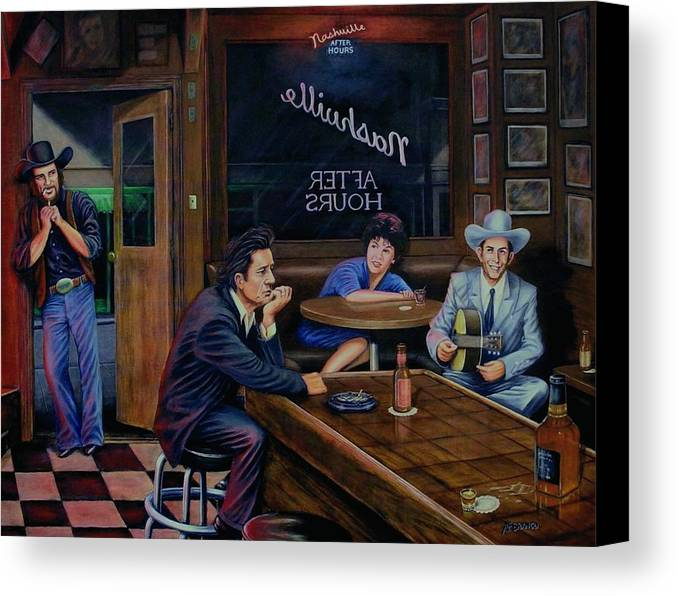 Nashville Canvas Print featuring the painting Nashville After Hours by Antonio F Branco