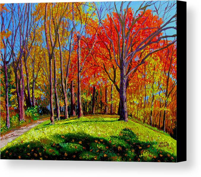 Trees Autumn Hill Grass Sunshine Shadows Sky Colors Path Canvas Print featuring the painting Nashville North by Stan Hamilton