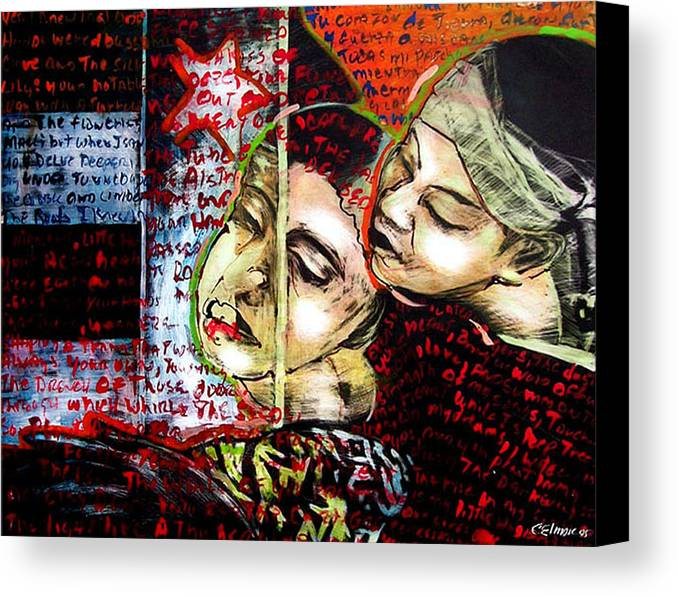 Canvas Print featuring the mixed media Neruda Love Poem by Chester Elmore