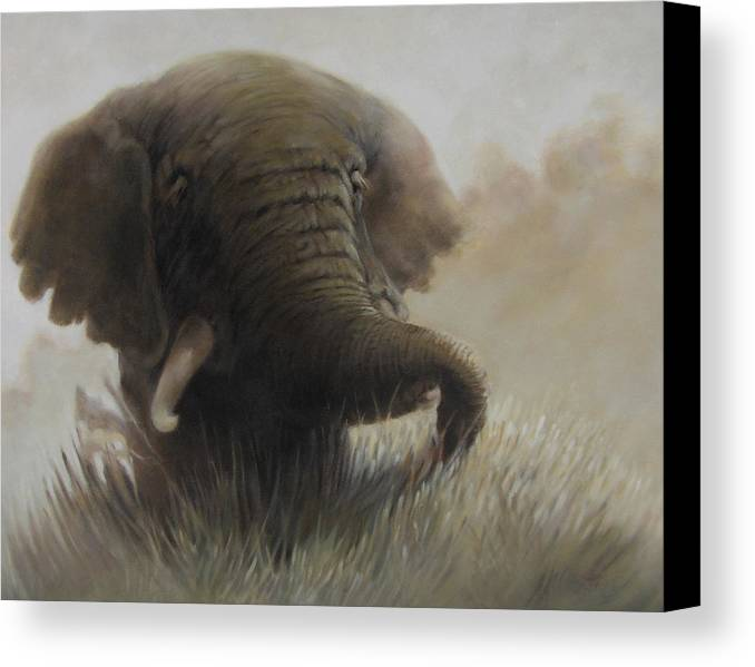 Elephant Canvas Print featuring the painting Nogoro Ngoro Elephant by Patrick McClintock